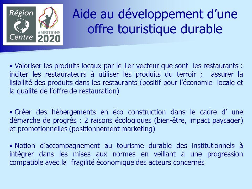 Aide au développement dune offre touristique durable Exemple de lUNAT : diversité des hébergements avec un objectif commun de développement durable ; les volets humain et économique sont développés mais le volet environnement est plus difficile à cause des coûts de rénovation (besoin daide financière) Exemple du PNR Loire Anjou Touraine qui, après 15 ans dexpérience (gîtes panda, hôtels au naturel), a créé le concept dhabitat au naturel Favoriser le tri sélectif et la gestion des déchets dans les sites touristiques, en commençant par les sites implantés dans la zone classée au Patrimoine Mondial de lUNESCO