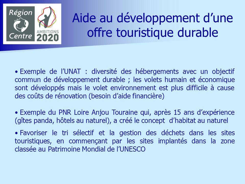 Aide au développement dune offre touristique durable Exemple de lUNAT : diversité des hébergements avec un objectif commun de développement durable ;