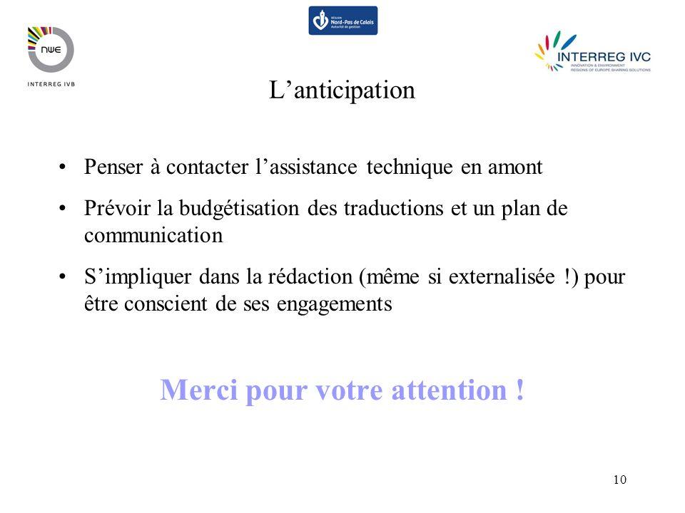 10 Lanticipation Penser à contacter lassistance technique en amont Prévoir la budgétisation des traductions et un plan de communication Simpliquer dan