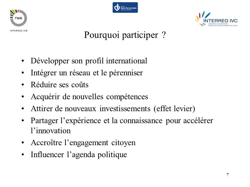 7 Pourquoi participer ? Développer son profil international Intégrer un réseau et le pérenniser Réduire ses coûts Acquérir de nouvelles compétences At