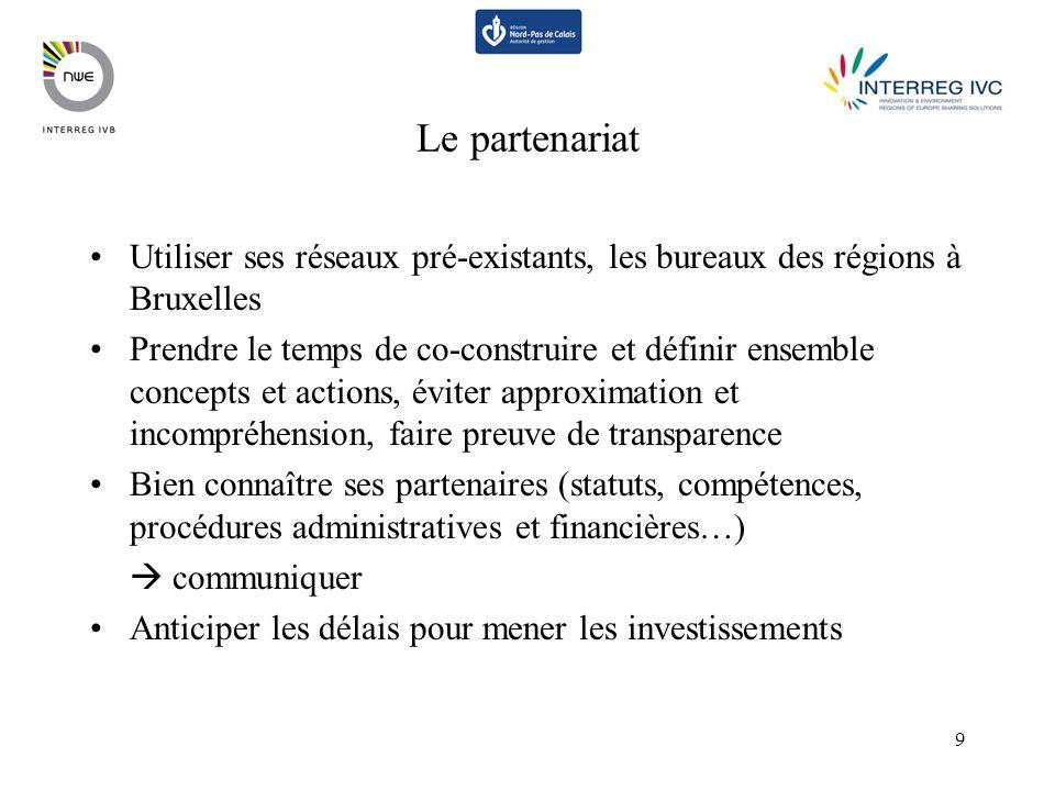 9 Le partenariat Utiliser ses réseaux pré-existants, les bureaux des régions à Bruxelles Prendre le temps de co-construire et définir ensemble concept