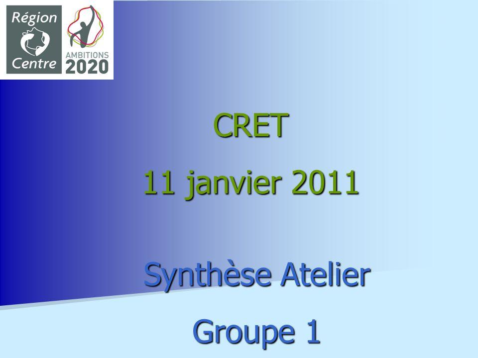 Synthèse Atelier Groupe 1 CRET 11 janvier 2011
