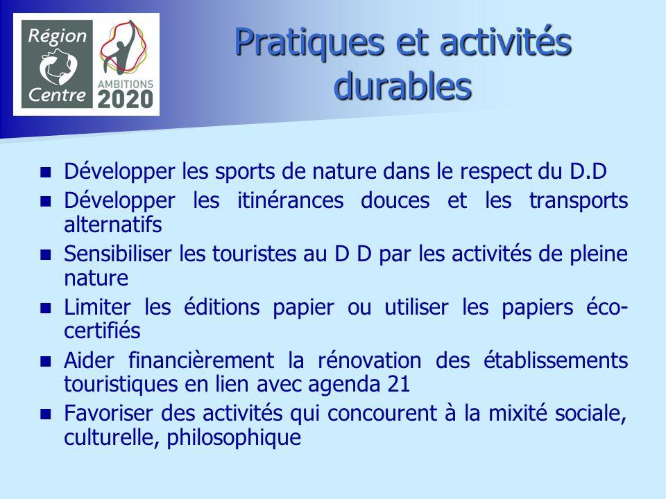 Pratiques et activités durables Développer les sports de nature dans le respect du D.D Développer les itinérances douces et les transports alternatifs