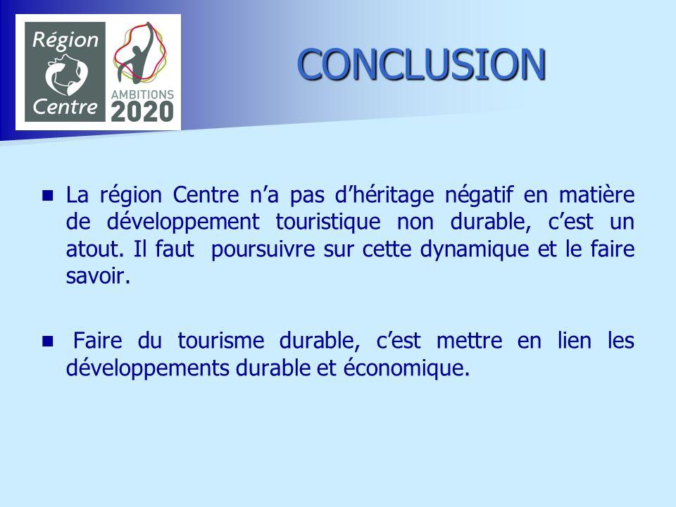 CONCLUSION La région Centre na pas dhéritage négatif en matière de développement touristique non durable, cest un atout. Il faut poursuivre sur cette