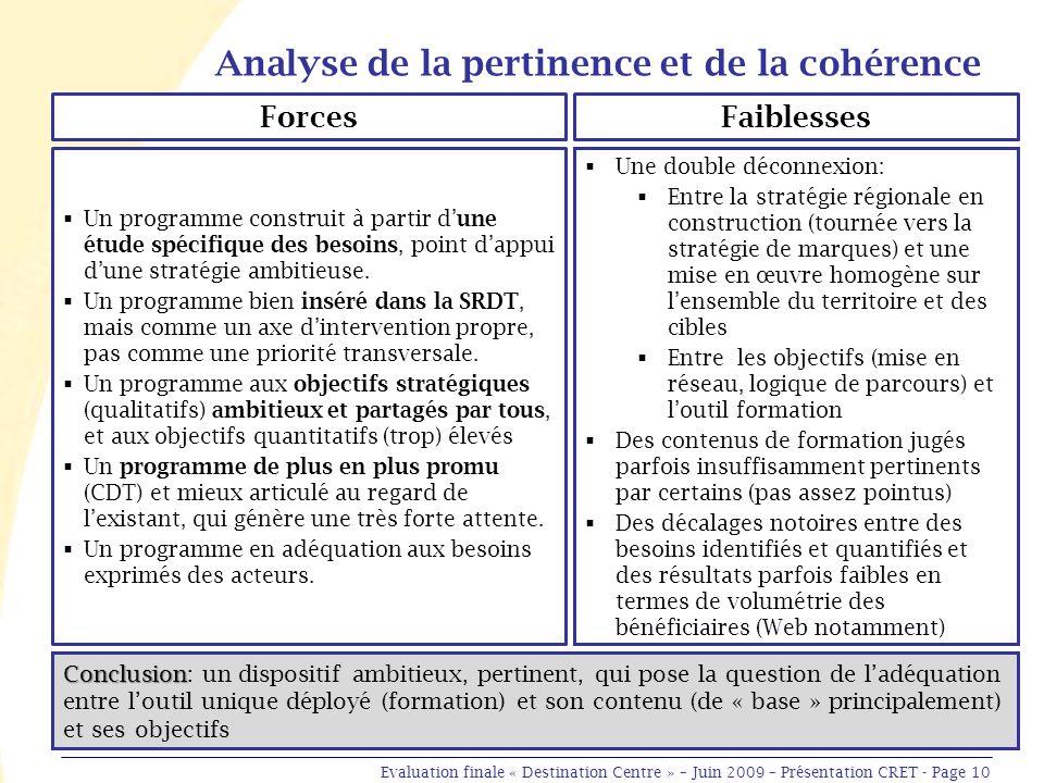 Analyse de la pertinence et de la cohérence Un programme construit à partir dune étude spécifique des besoins, point dappui dune stratégie ambitieuse.