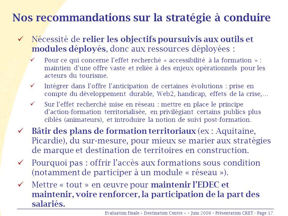 Nos recommandations sur la stratégie à conduire Nécessité de relier les objectifs poursuivis aux outils et modules déployés, donc aux ressources déployées : Pour ce qui concerne leffet recherché « accessibilité à la formation » : maintien dune offre vaste et reliée à des enjeux opérationnels pour les acteurs du tourisme.