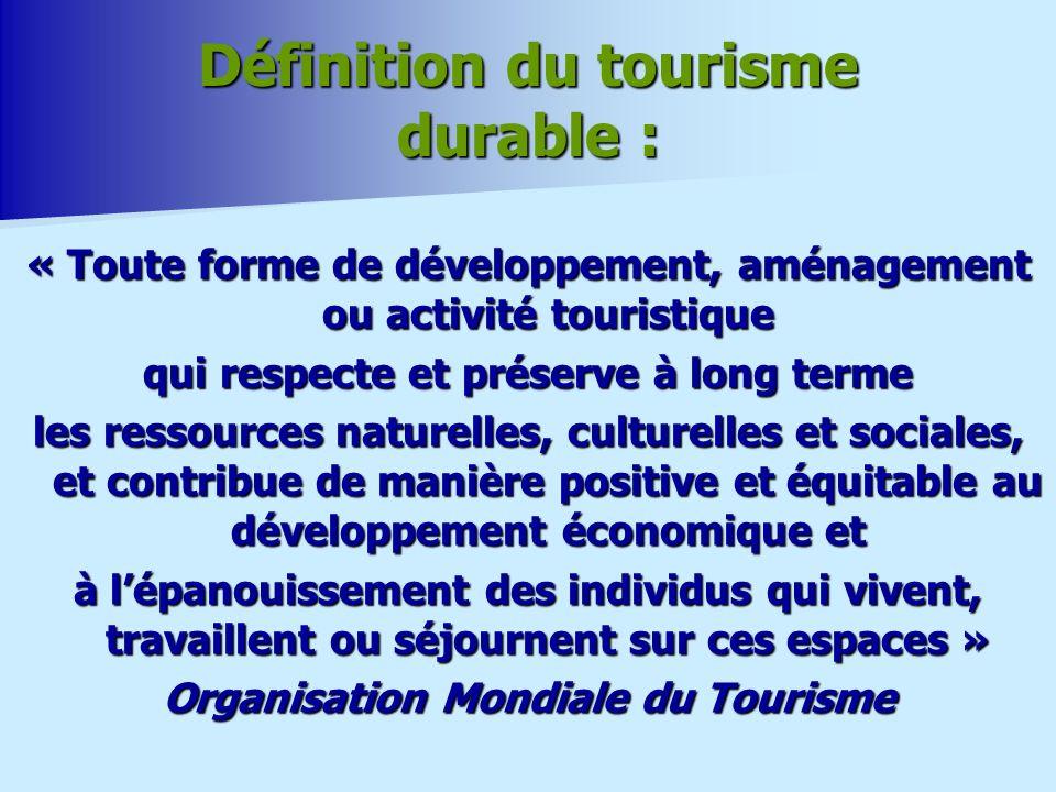 Définition du tourisme durable : « Toute forme de développement, aménagement ou activité touristique qui respecte et préserve à long terme les ressources naturelles, culturelles et sociales, et contribue de manière positive et équitable au développement économique et à lépanouissement des individus qui vivent, travaillent ou séjournent sur ces espaces » Organisation Mondiale du Tourisme