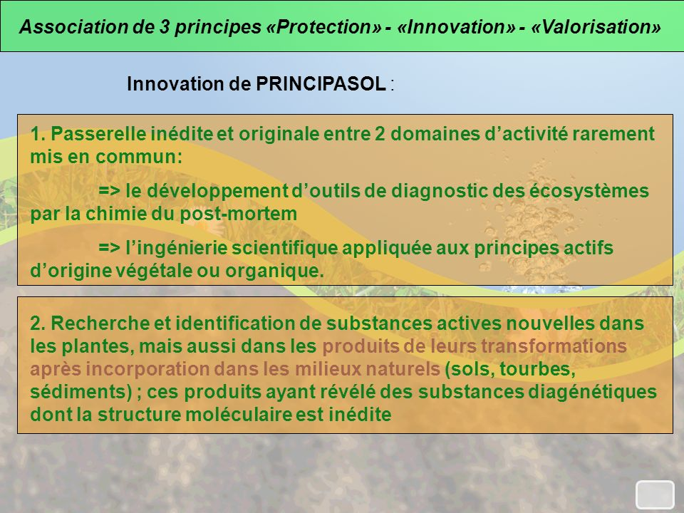 Innovation de PRINCIPASOL : Association de 3 principes «Protection» - «Innovation» - «Valorisation» 1. Passerelle inédite et originale entre 2 domaine