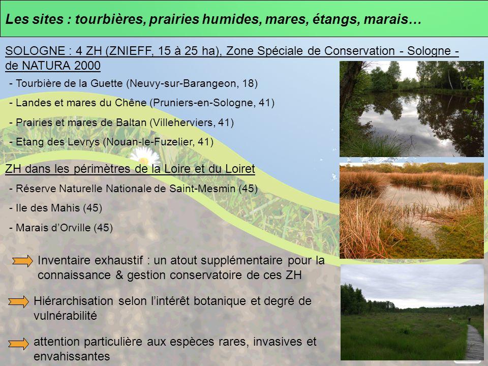 Les sites : tourbières, prairies humides, mares, étangs, marais… SOLOGNE : 4 ZH (ZNIEFF, 15 à 25 ha), Zone Spéciale de Conservation - Sologne - de NATURA 2000 - Tourbière de la Guette (Neuvy-sur-Barangeon, 18) - Landes et mares du Chêne (Pruniers-en-Sologne, 41) - Prairies et mares de Baltan (Villeherviers, 41) - Etang des Levrys (Nouan-le-Fuzelier, 41) ZH dans les périmètres de la Loire et du Loiret - Réserve Naturelle Nationale de Saint-Mesmin (45) - Ile des Mahis (45) - Marais dOrville (45) Inventaire exhaustif : un atout supplémentaire pour la connaissance & gestion conservatoire de ces ZH attention particulière aux espèces rares, invasives et envahissantes Hiérarchisation selon lintérêt botanique et degré de vulnérabilité