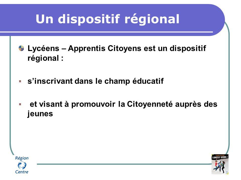 Un dispositif régional Lycéens – Apprentis Citoyens est un dispositif régional : sinscrivant dans le champ éducatif et visant à promouvoir la Citoyenneté auprès des jeunes