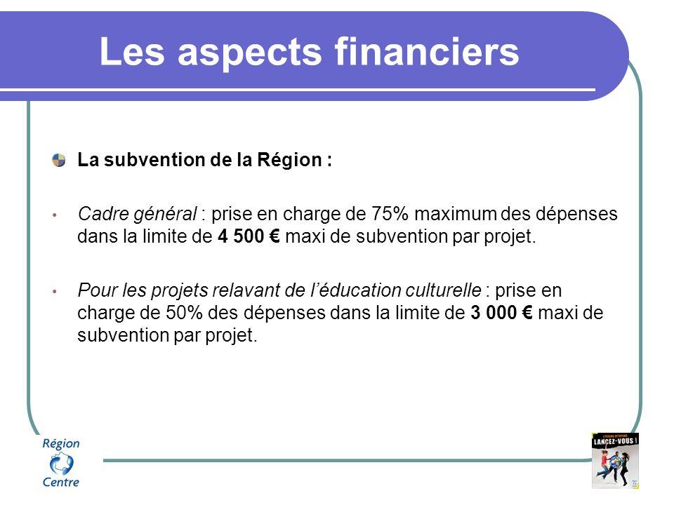 Les aspects financiers La subvention de la Région : Cadre général : prise en charge de 75% maximum des dépenses dans la limite de 4 500 maxi de subvention par projet.