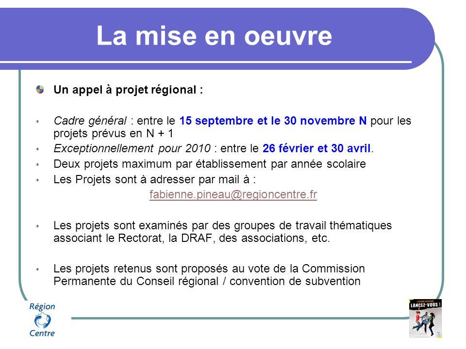La mise en oeuvre Un appel à projet régional : Cadre général : entre le 15 septembre et le 30 novembre N pour les projets prévus en N + 1 Exceptionnellement pour 2010 : entre le 26 février et 30 avril.