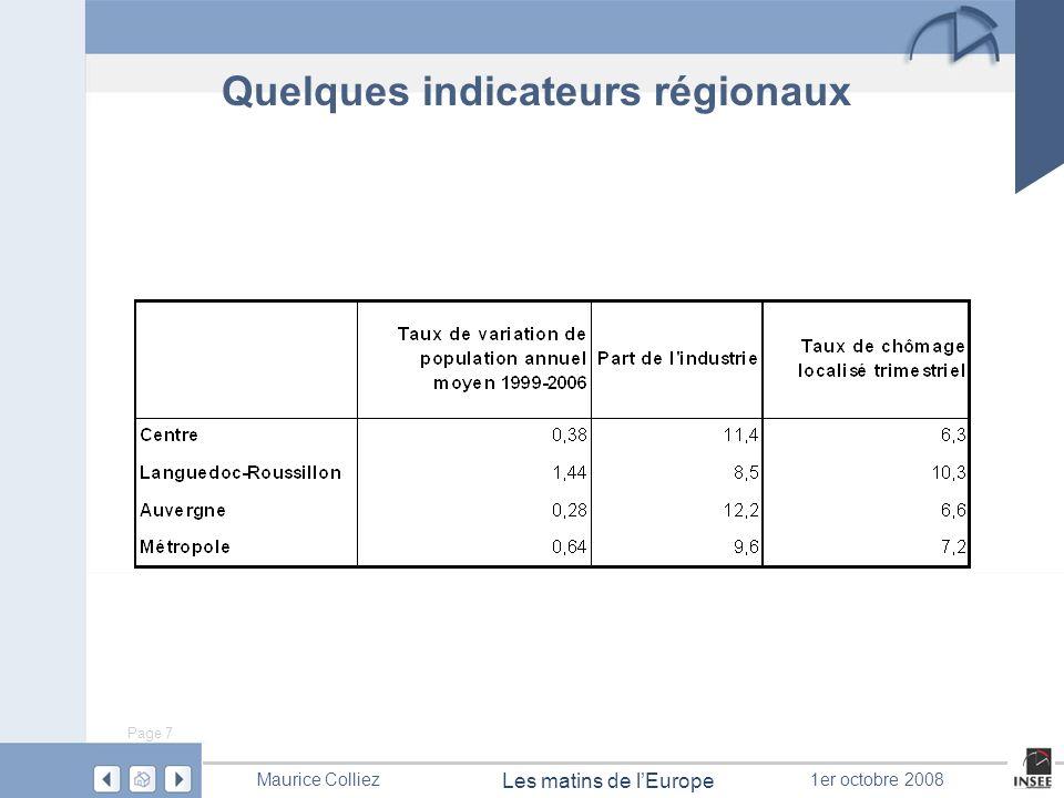 Page 7 Les matins de lEurope Maurice Colliez1er octobre 2008 Quelques indicateurs régionaux
