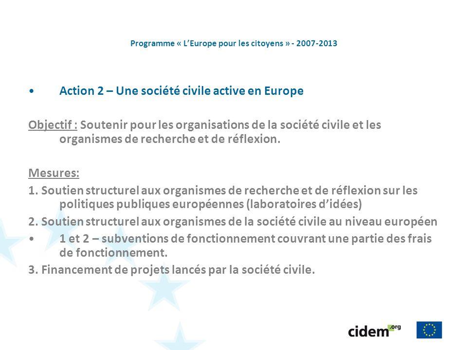 Programme « LEurope pour les citoyens » - 2007-2013 Action 2 – Une société civile active en Europe Objectif : Soutenir pour les organisations de la société civile et les organismes de recherche et de réflexion.