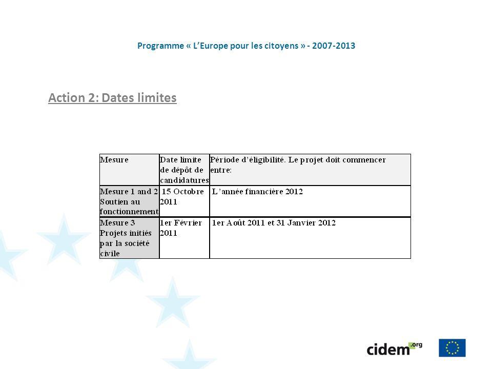 Programme « LEurope pour les citoyens » - 2007-2013 Action 2: Dates limites