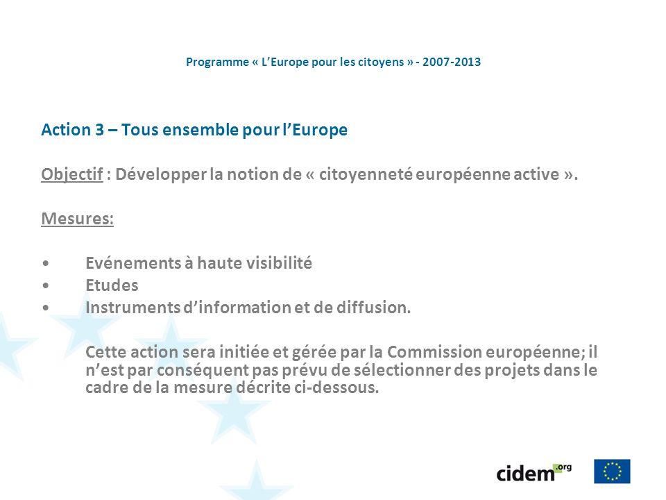 Programme « LEurope pour les citoyens » - 2007-2013 Action 3 – Tous ensemble pour lEurope Objectif : Développer la notion de « citoyenneté européenne active ».