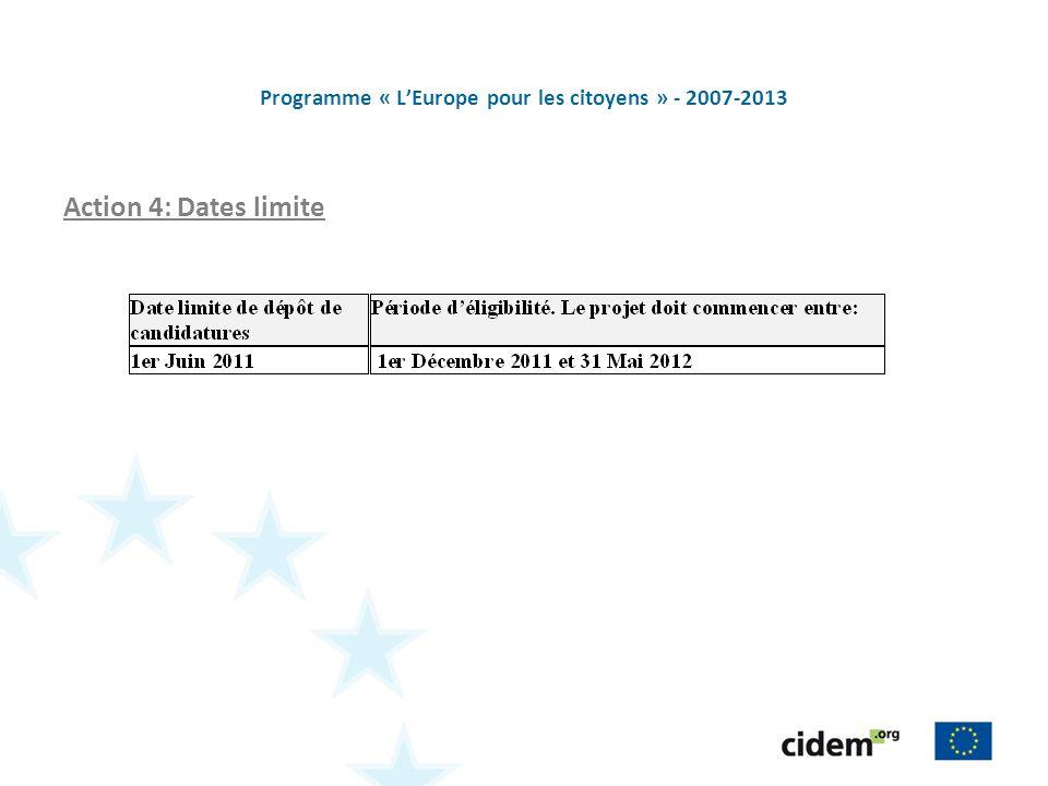 Programme « LEurope pour les citoyens » - 2007-2013 Action 4: Dates limite