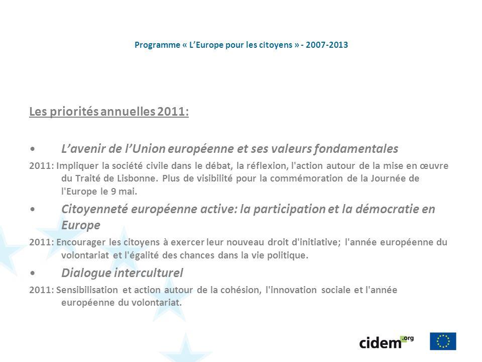 Programme « LEurope pour les citoyens » - 2007-2013 Les priorités annuelles 2011: Lavenir de lUnion européenne et ses valeurs fondamentales 2011: Impliquer la société civile dans le débat, la réflexion, l action autour de la mise en œuvre du Traité de Lisbonne.