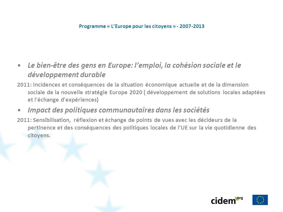 Programme « LEurope pour les citoyens » - 2007-2013 Le bien-être des gens en Europe: lemploi, la cohésion sociale et le développement durable 2011: In