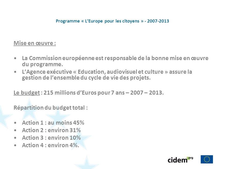 Programme « LEurope pour les citoyens » - 2007-2013 Mise en œuvre : La Commission européenne est responsable de la bonne mise en œuvre du programme. L