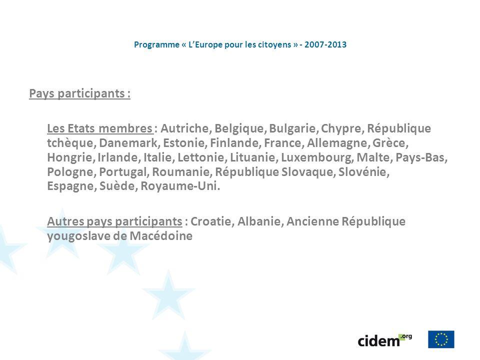 Programme « LEurope pour les citoyens » - 2007-2013 Pays participants : Les Etats membres : Autriche, Belgique, Bulgarie, Chypre, République tchèque,