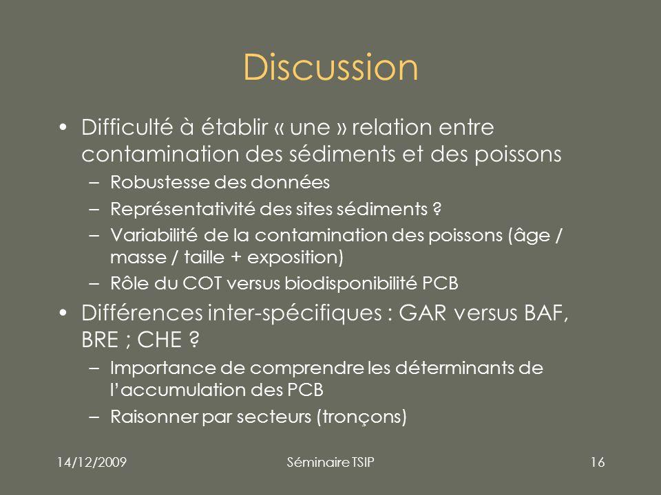 14/12/2009Séminaire TSIP16 Discussion Difficulté à établir « une » relation entre contamination des sédiments et des poissons –Robustesse des données