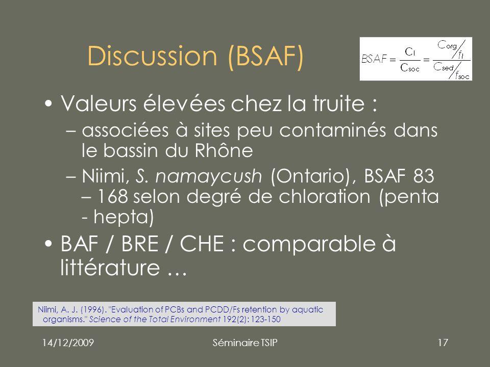 14/12/2009Séminaire TSIP17 Discussion (BSAF) Valeurs élevées chez la truite : –associées à sites peu contaminés dans le bassin du Rhône –Niimi, S. nam