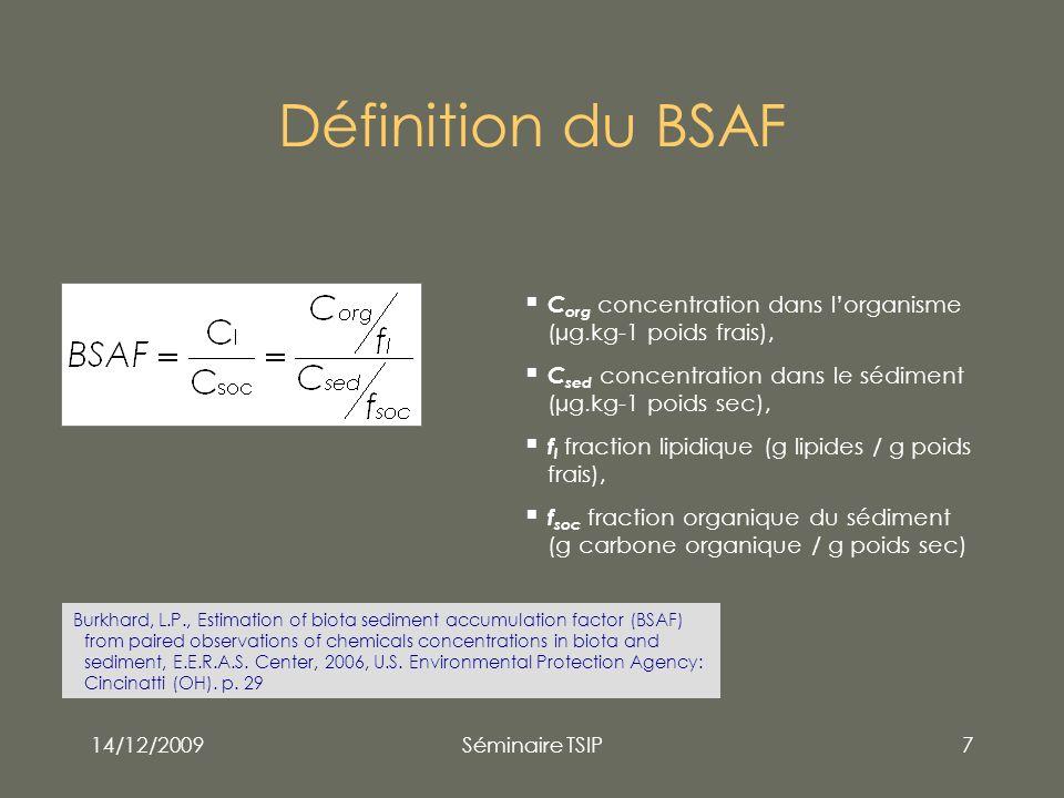 14/12/2009Séminaire TSIP7 Définition du BSAF C org concentration dans lorganisme (µg.kg-1 poids frais), C sed concentration dans le sédiment (µg.kg-1