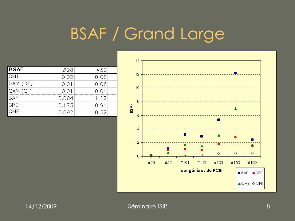 14/12/2009Séminaire TSIP19 Perspectives Intégrer données 2009 ( nb sites sédiments + poissons) Estimer lécart-type sur BSAF (bootstrap) Explorer des données historiques .