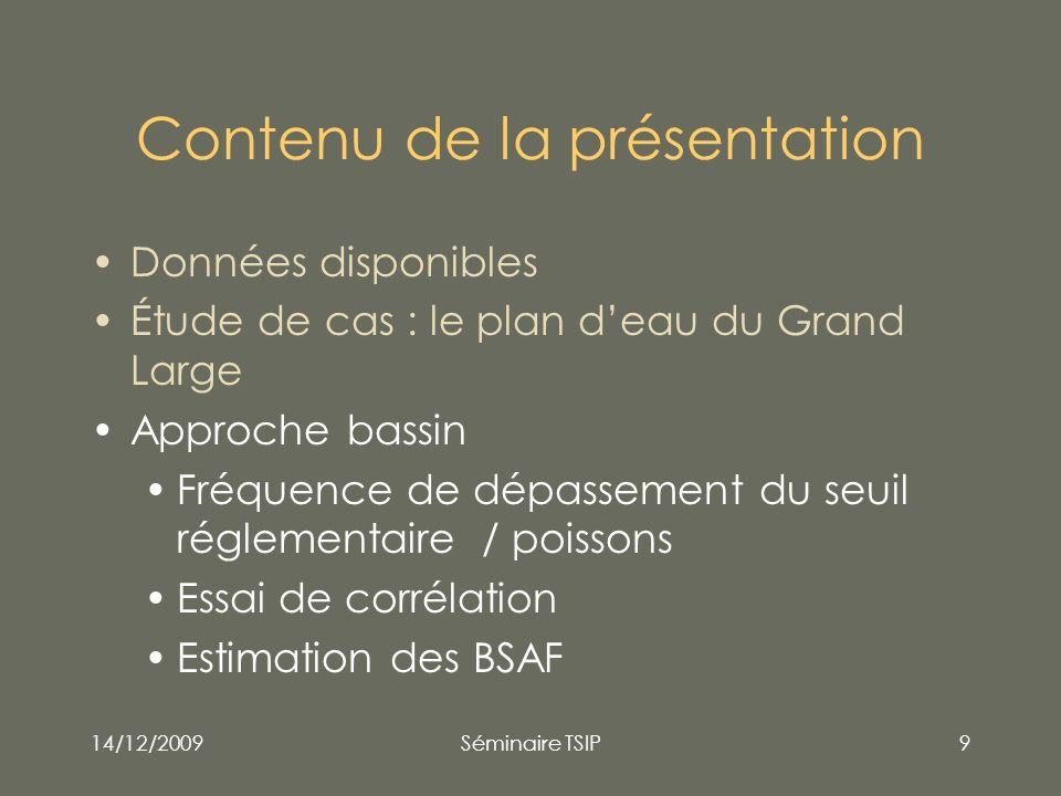 14/12/2009Séminaire TSIP9 Contenu de la présentation Données disponibles Étude de cas : le plan deau du Grand Large Approche bassin Fréquence de dépas