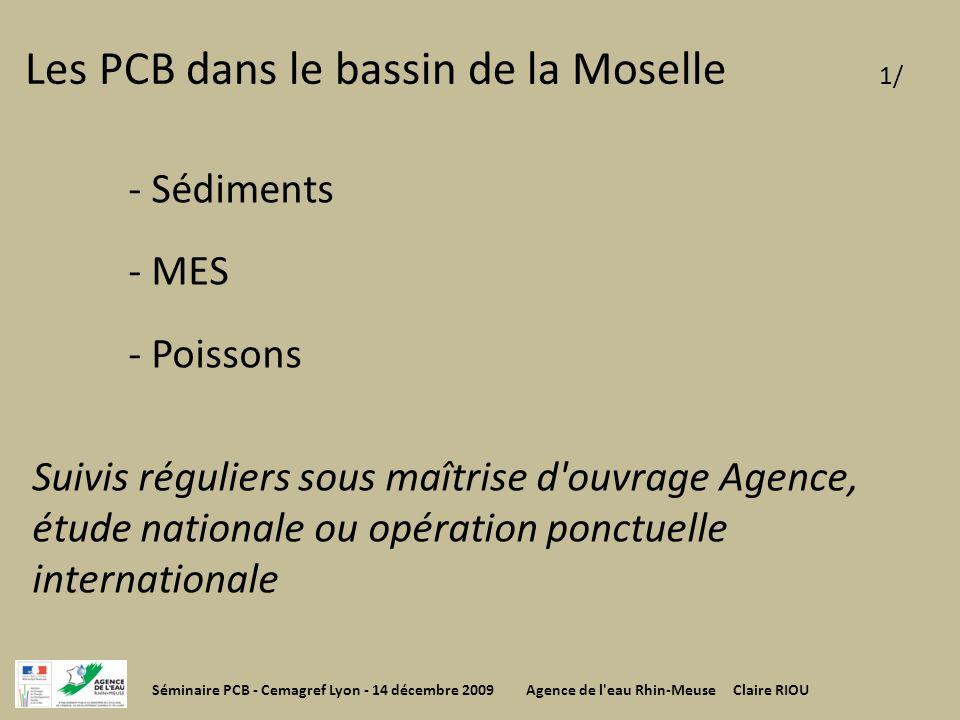 Les PCB dans le bassin de la Moselle 1/ - Sédiments - MES - Poissons Suivis réguliers sous maîtrise d'ouvrage Agence, étude nationale ou opération pon