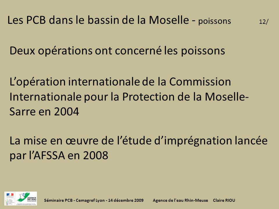 Les PCB dans le bassin de la Moselle - poissons 12/ Deux opérations ont concerné les poissons Lopération internationale de la Commission International
