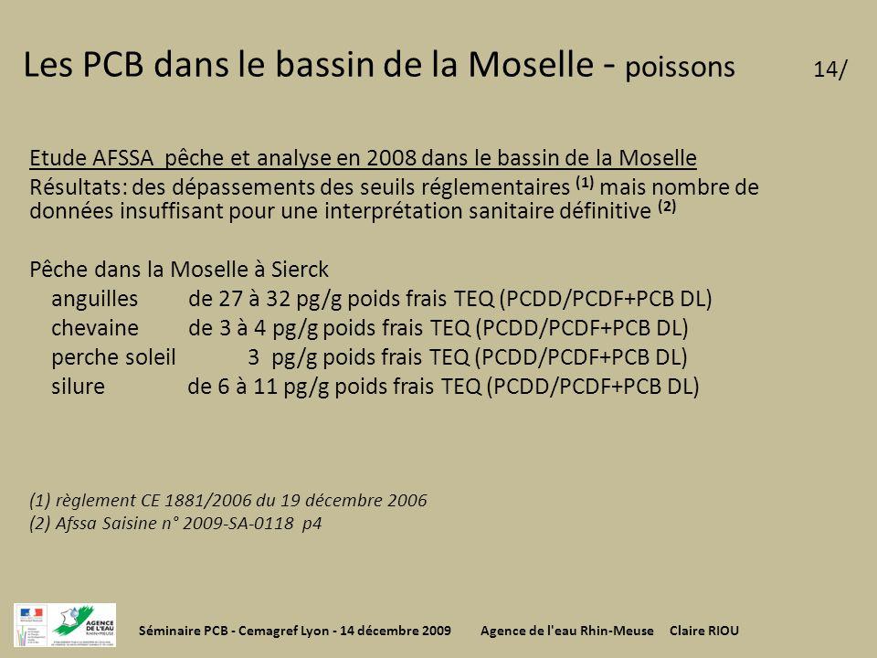 Etude AFSSA pêche et analyse en 2008 dans le bassin de la Moselle Résultats: des dépassements des seuils réglementaires (1) mais nombre de données ins