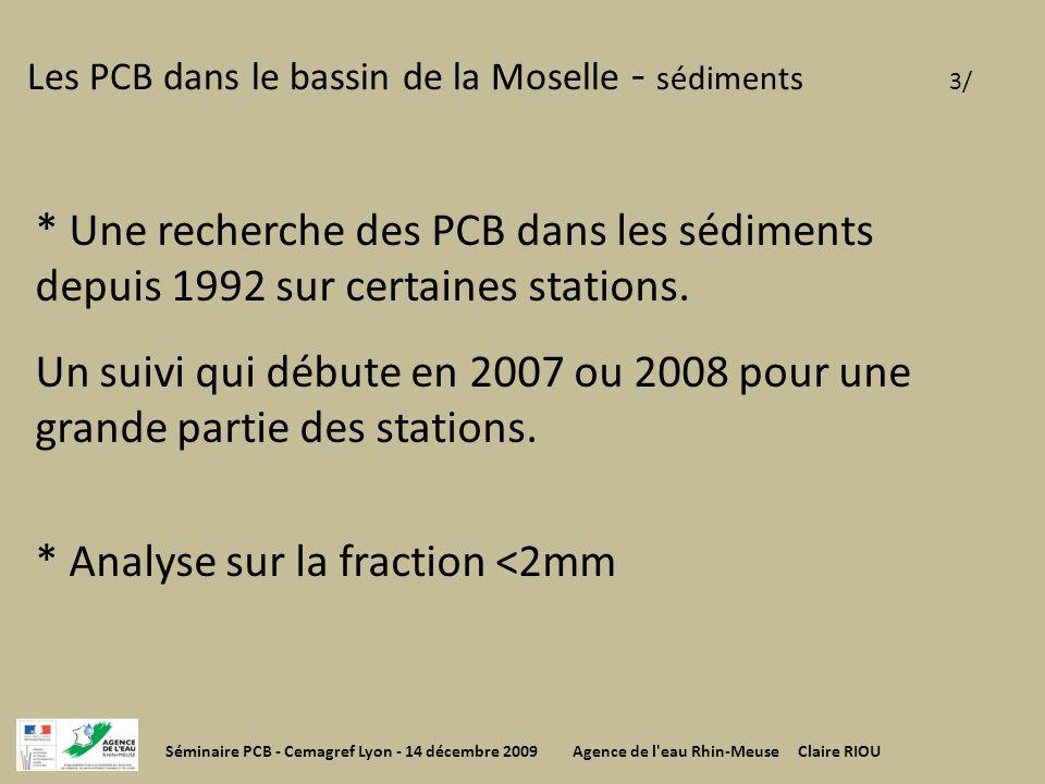 Les PCB dans le bassin de la Moselle - sédiments 3/ * Une recherche des PCB dans les sédiments depuis 1992 sur certaines stations. Un suivi qui débute