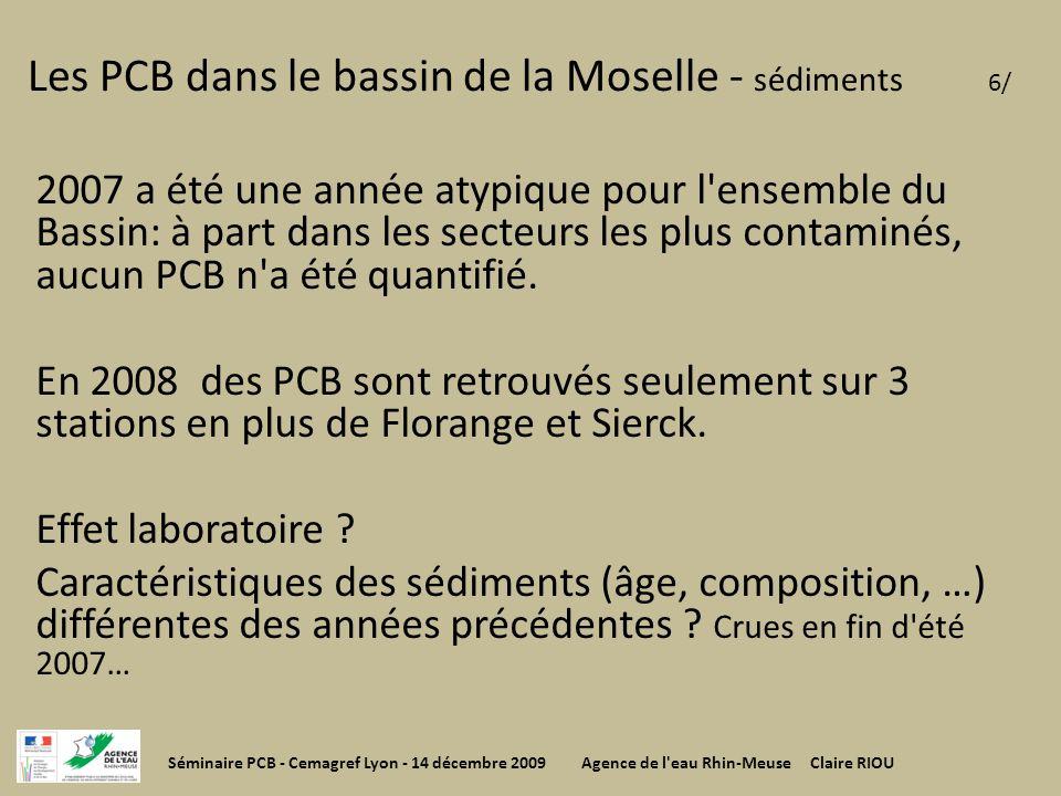 Les PCB dans le bassin de la Moselle - sédiments 6/ 2007 a été une année atypique pour l'ensemble du Bassin: à part dans les secteurs les plus contami