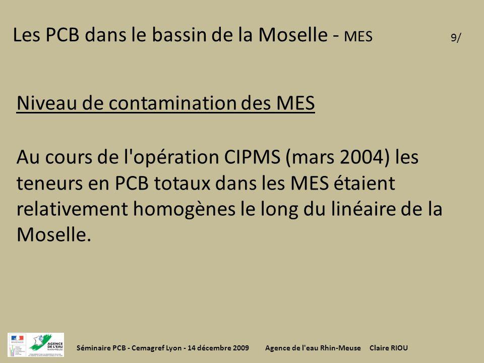 Les PCB dans le bassin de la Moselle - MES 9/ Niveau de contamination des MES Au cours de l'opération CIPMS (mars 2004) les teneurs en PCB totaux dans