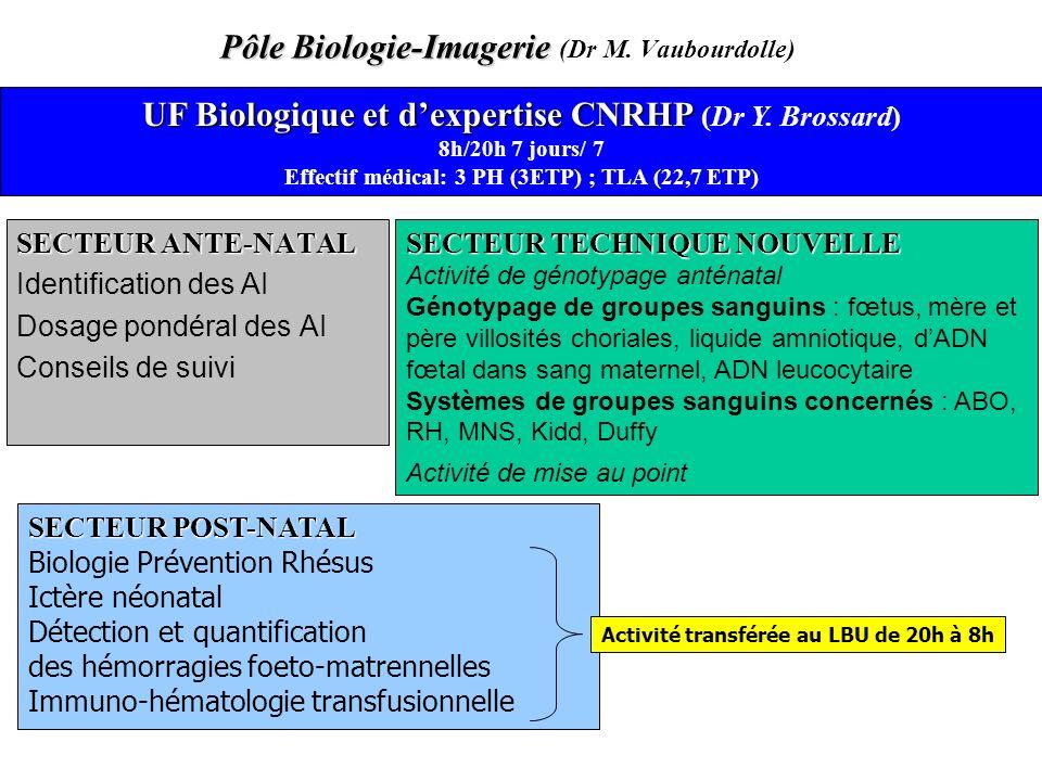 Pôle Biologie-Imagerie Pôle Biologie-Imagerie (Dr M. Vaubourdolle) SECTEUR ANTE-NATAL Identification des AI Dosage pondéral des AI Conseils de suivi U