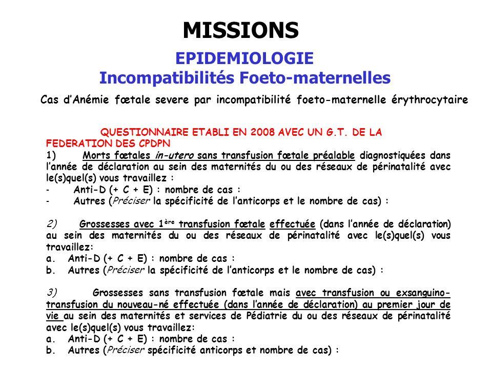 MISSIONS EPIDEMIOLOGIE Incompatibilités Foeto-maternelles Cas dAnémie fœtale severe par incompatibilité foeto-maternelle érythrocytaire QUESTIONNAIRE