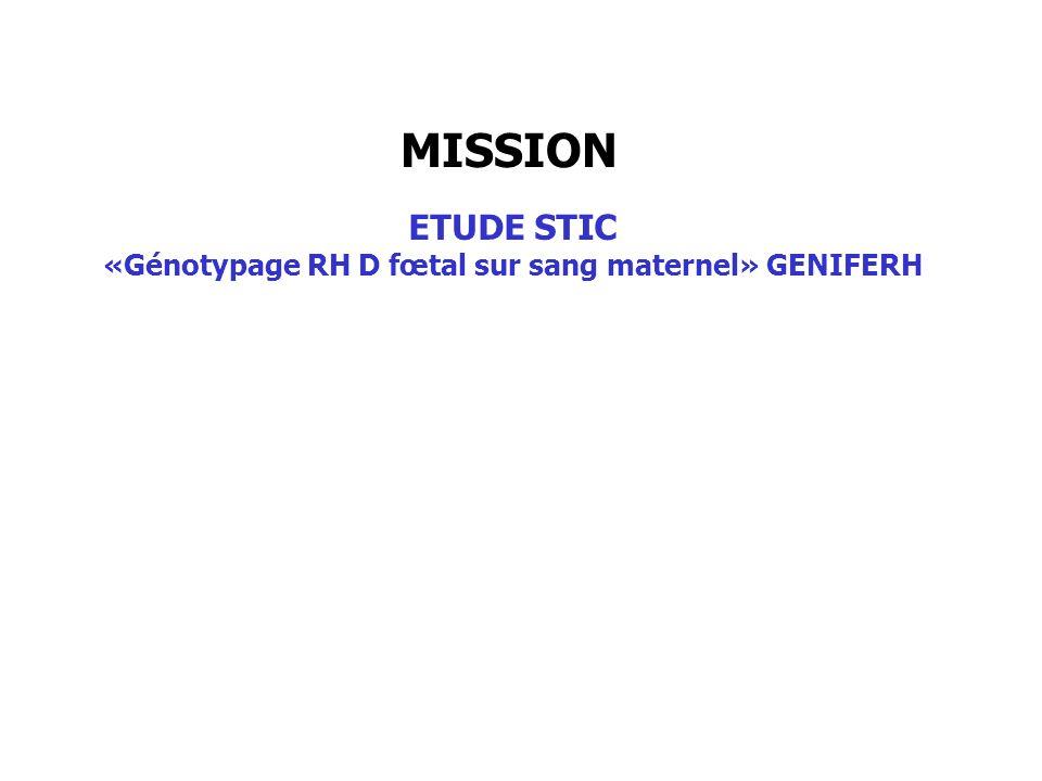 MISSION ETUDE STIC «Génotypage RH D fœtal sur sang maternel» GENIFERH