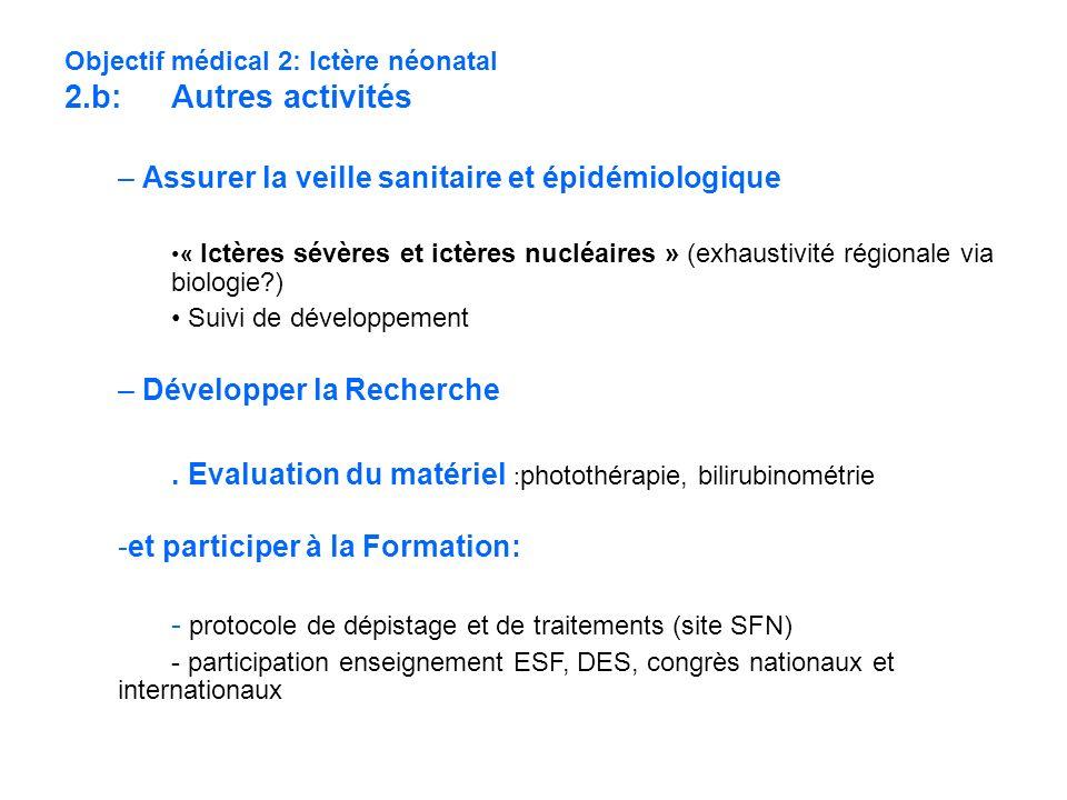Objectif médical 2: Ictère néonatal 2.b: Autres activités – Assurer la veille sanitaire et épidémiologique « Ictères sévères et ictères nucléaires » (