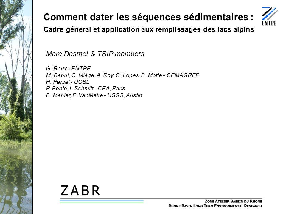 Séminaire PCB-Rhône, 12 février 2009 Comment dater les séquences sédimentaires : Cadre géneral et application aux remplissages des lacs alpins Marc Desmet & TSIP members G.