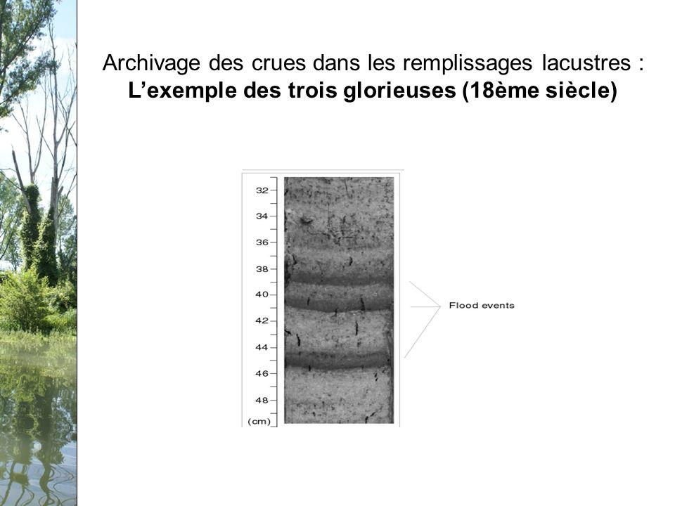 Séminaire PCB-Rhône, 12 février 2009 Archivage des crues dans les remplissages lacustres : Lexemple des trois glorieuses (18ème siècle)