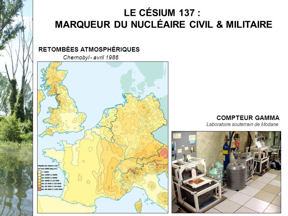 Séminaire PCB-Rhône, 12 février 2009 RETOMBÉES ATMOSPHÉRIQUES Chernobyl - avril 1986 COMPTEUR GAMMA Laboratoire souterrain de Modane LE CÉSIUM 137 : MARQUEUR DU NUCLÉAIRE CIVIL & MILITAIRE