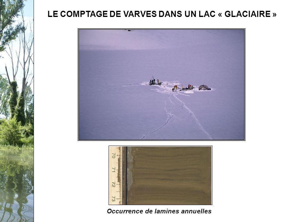 Séminaire PCB-Rhône, 12 février 2009 LE COMPTAGE DE VARVES DANS UN LAC « GLACIAIRE » Lamines millimétriques Occurrence de lamines annuelles