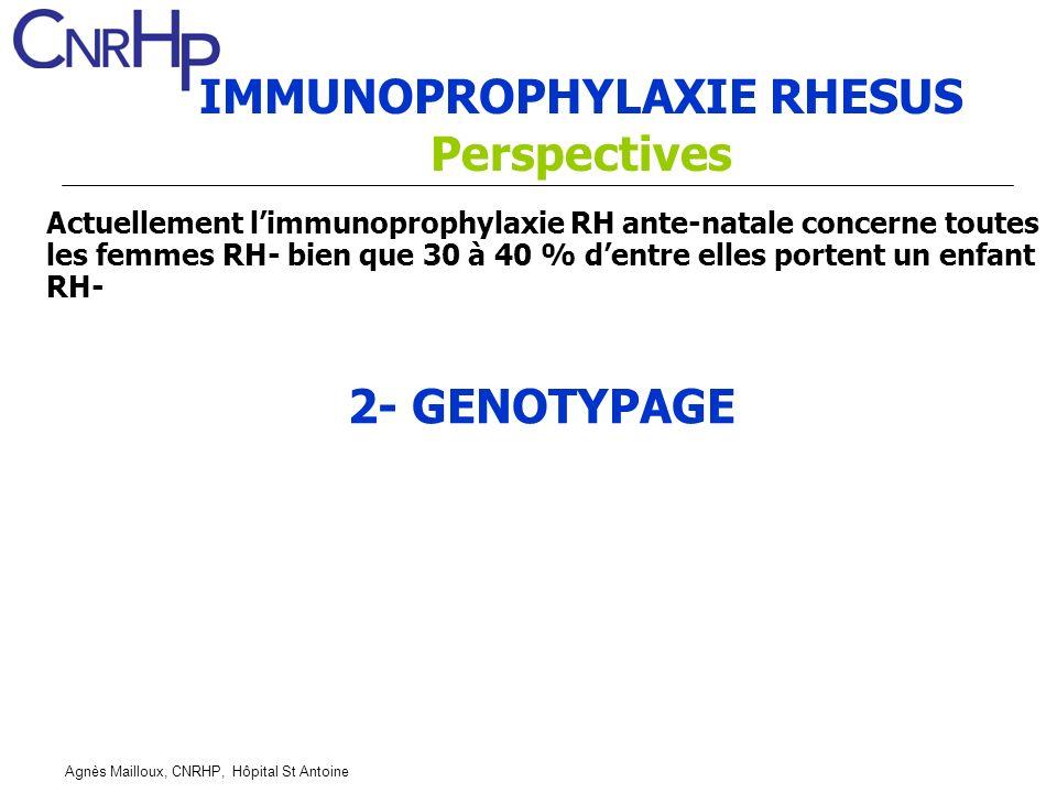 Agnès Mailloux, CNRHP, Hôpital St Antoine IMMUNOPROPHYLAXIE RHESUS Perspectives 2- GENOTYPAGE Actuellement limmunoprophylaxie RH ante-natale concerne toutes les femmes RH- bien que 30 à 40 % dentre elles portent un enfant RH-