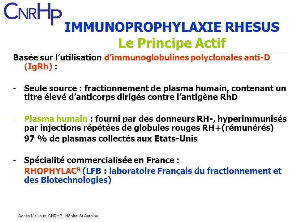 Agnès Mailloux, CNRHP, Hôpital St Antoine IMMUNOPROPHYLAXIE RHESUS Le Principe Actif Basée sur lutilisation dimmunoglobulines polyclonales anti-D (IgRh) : -Seule source : fractionnement de plasma humain, contenant un titre élevé danticorps dirigés contre lantigène RhD -Plasma humain : fourni par des donneurs RH-, hyperimmunisés par injections répétées de globules rouges RH+(rémunérés) 97 % de plasmas collectés aux Etats-Unis -Spécialité commercialisée en France : RHOPHYLAC R (LFB : laboratoire Français du fractionnement et des Biotechnologies)