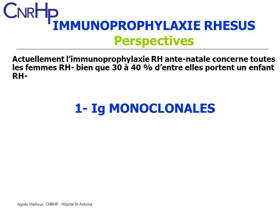 Agnès Mailloux, CNRHP, Hôpital St Antoine IMMUNOPROPHYLAXIE RHESUS Perspectives 1- Ig MONOCLONALES Actuellement limmunoprophylaxie RH ante-natale concerne toutes les femmes RH- bien que 30 à 40 % dentre elles portent un enfant RH-