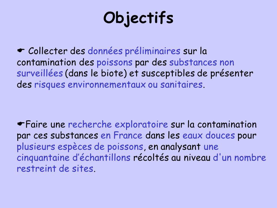 Objectifs Collecter des données préliminaires sur la contamination des poissons par des substances non surveillées (dans le biote) et susceptibles de