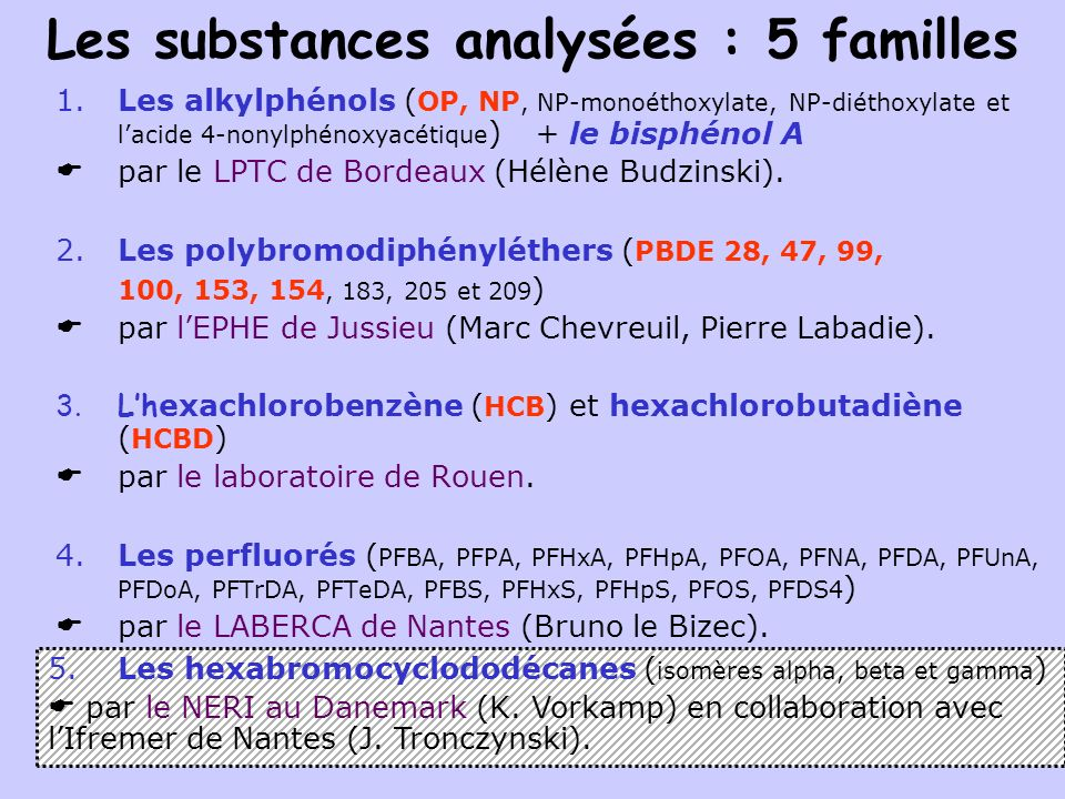 Les substances analysées : 5 familles 1.Les alkylphénols ( OP, NP, NP-monoéthoxylate, NP-diéthoxylate et lacide 4-nonylphénoxyacétique ) par le LPTC d