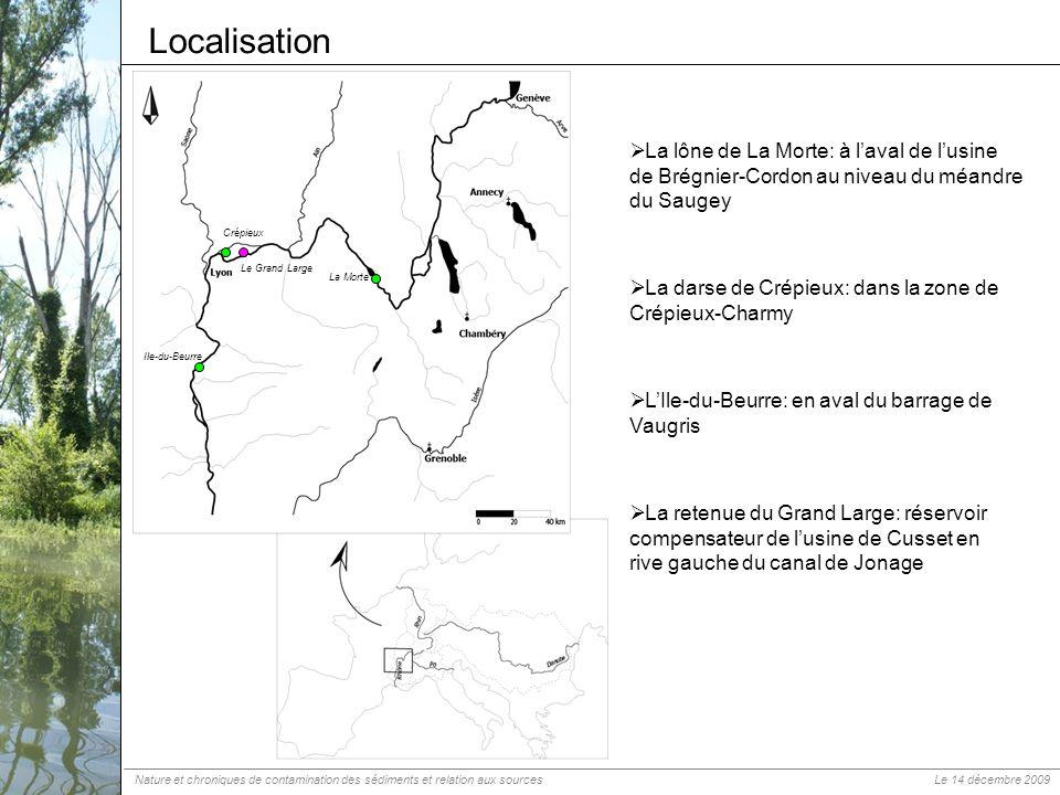 Localisation La Morte La lône de La Morte: à laval de lusine de Brégnier-Cordon au niveau du méandre du Saugey Crépieux La darse de Crépieux: dans la